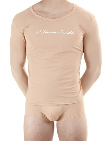 detailed look 0d506 5b482 Men's Crew neck long sleeve T shirt Nude color | L'Homme Invisible Luxury  underwear