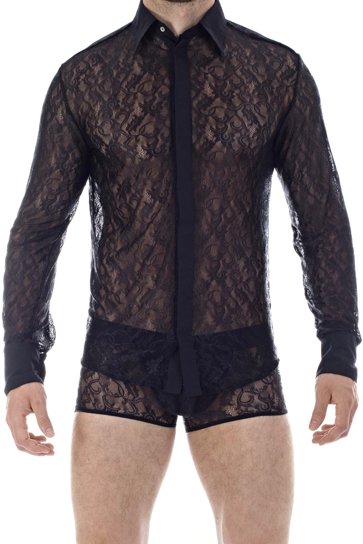 361dae94b75b Mystique Mens shirt in Lace | Mens luxury shirt in black lace