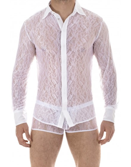Mystique White - Mens lace shirt in white