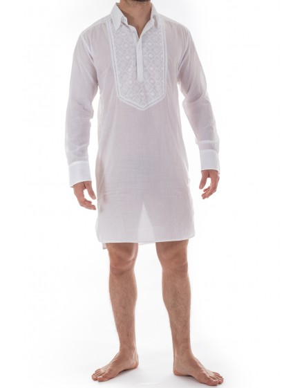 Udai - mens's Embroidered Night shirt in cotton voile