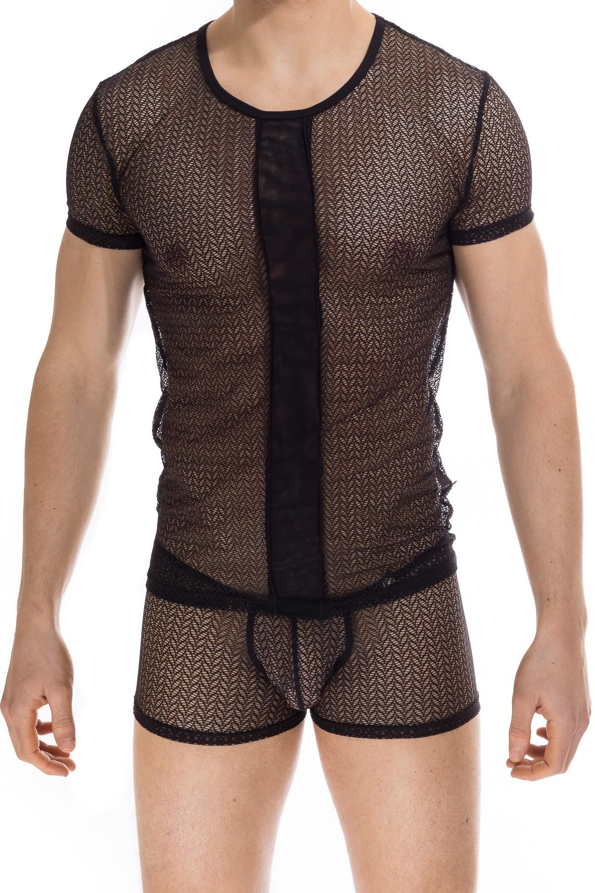 948a80d77175 Viridios Black - T shirt - Mens sexy designer lace mesh tshirt ...