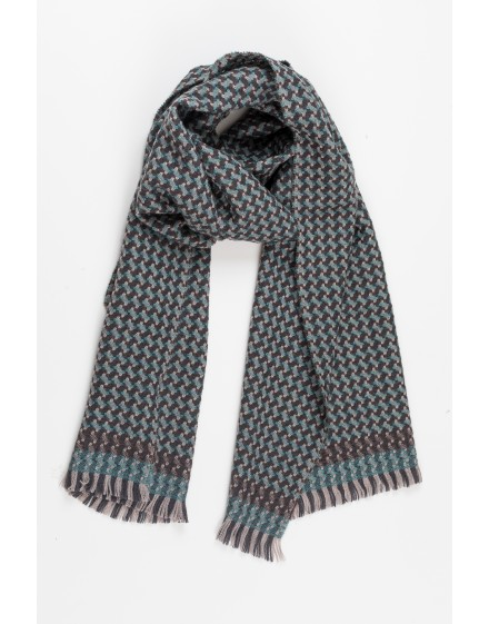 Pine Forest - Wool Scarf - Celadon & Brown