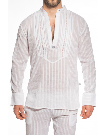 Barbados Tunic with embroidery for men in cotton voile