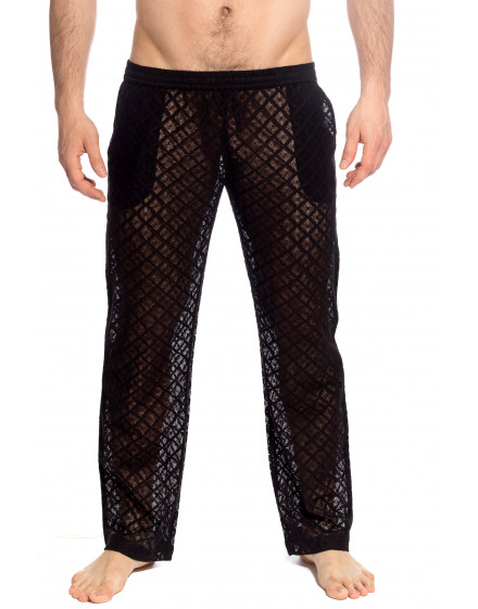 Divine Desire Black lounge Trousers in lace for men